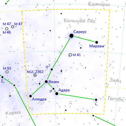 созвездие Большой Пес на карте звездного неба