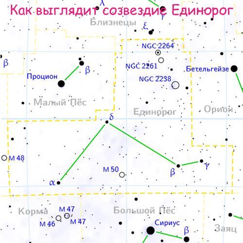 Созвездие Единорог на карте звездного неба
