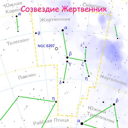 Созвездие Жертвенник на карте звездного неба