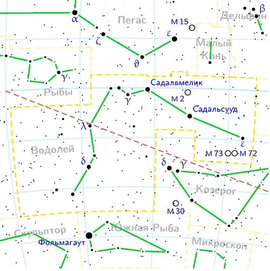 Созвездие Водолей на карте звездного неба