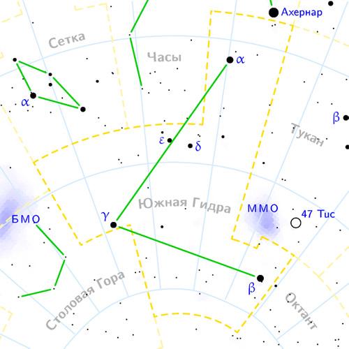 созвездие южная гидра на карте звездного неба