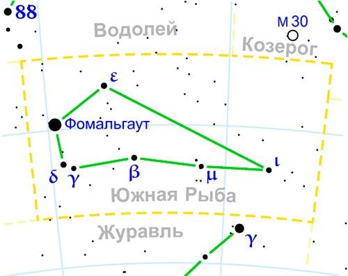 созвездие Южная Рыба на карте звездного неба