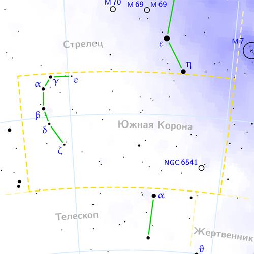 созвездие Южная Корона на карте звездного неба